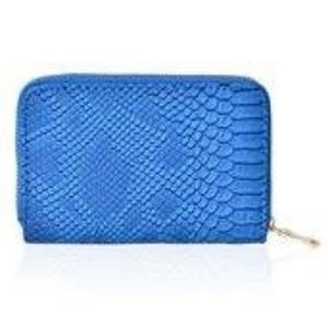 Handbags - Blue Snake Skin Embossed Faux Leather Wallet